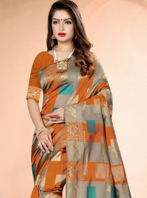 Orange Printed Art Banarasi Silk Designer Traditional Saree