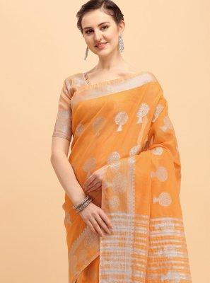 Orange Printed Cotton Trendy Saree