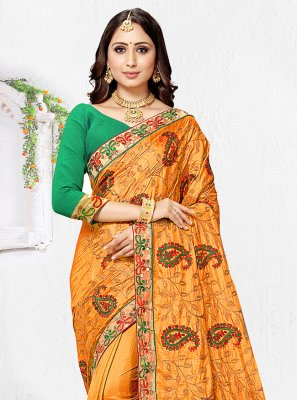 Orange Resham Traditional Saree
