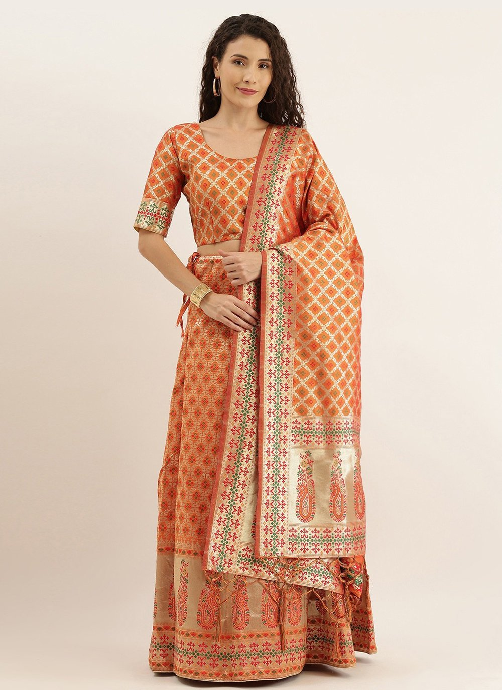 Orange Sangeet Lehenga Choli