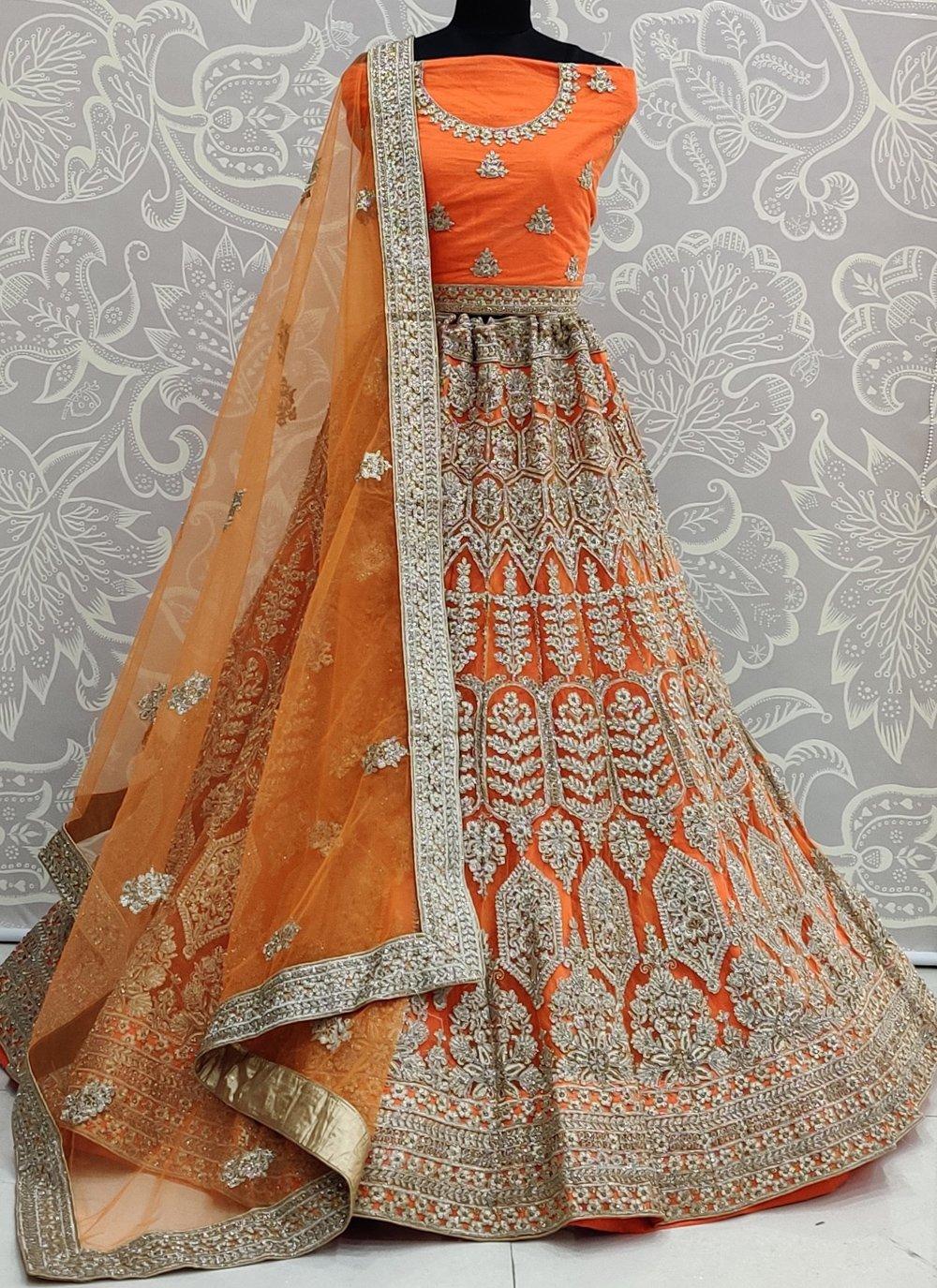 Orange Sangeet Net Lehenga Choli