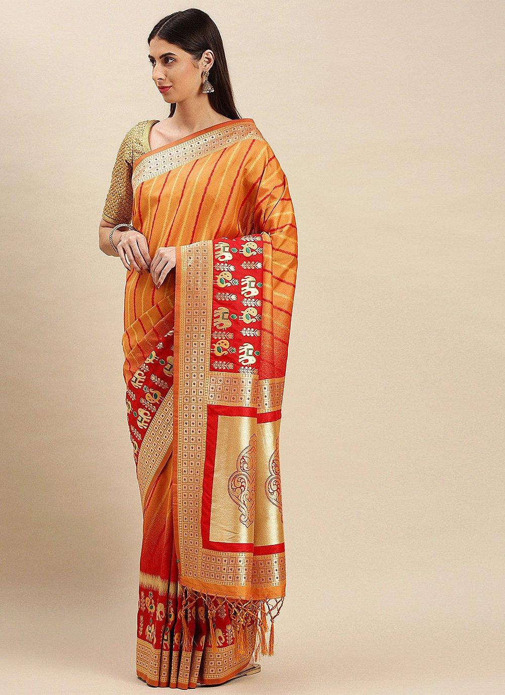 Orange Sangeet Traditional Saree