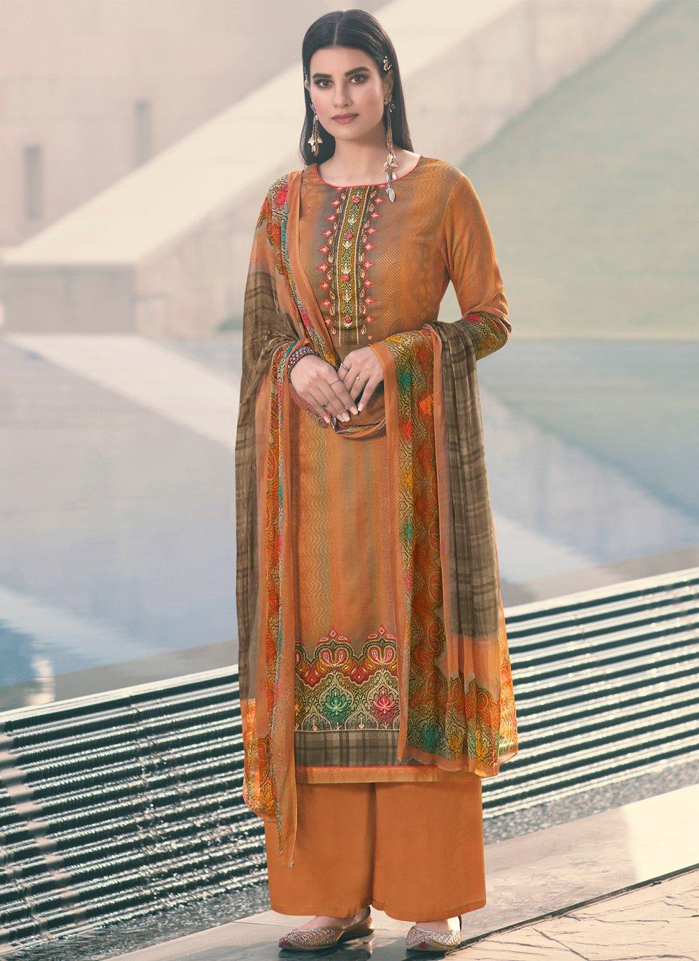 Orange Satin Designer Palazzo Salwar Kameez