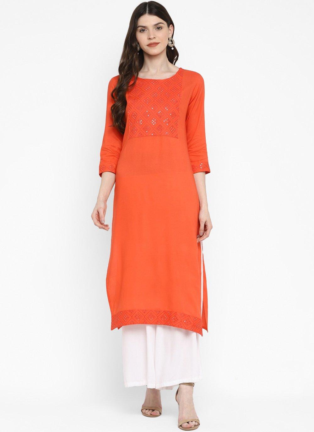 Orange Sequins Cotton Party Wear Kurti