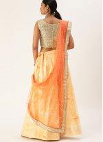 Orange Sequins Lehenga Choli