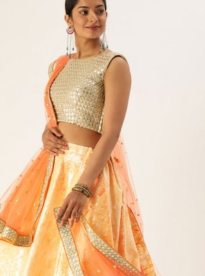 Orange Sequins Lehenga Choli