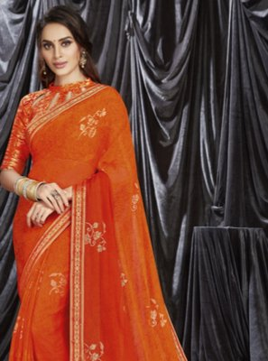 Orange Shaded Saree
