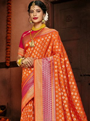 Orange Silk Ceremonial Designer Traditional Saree