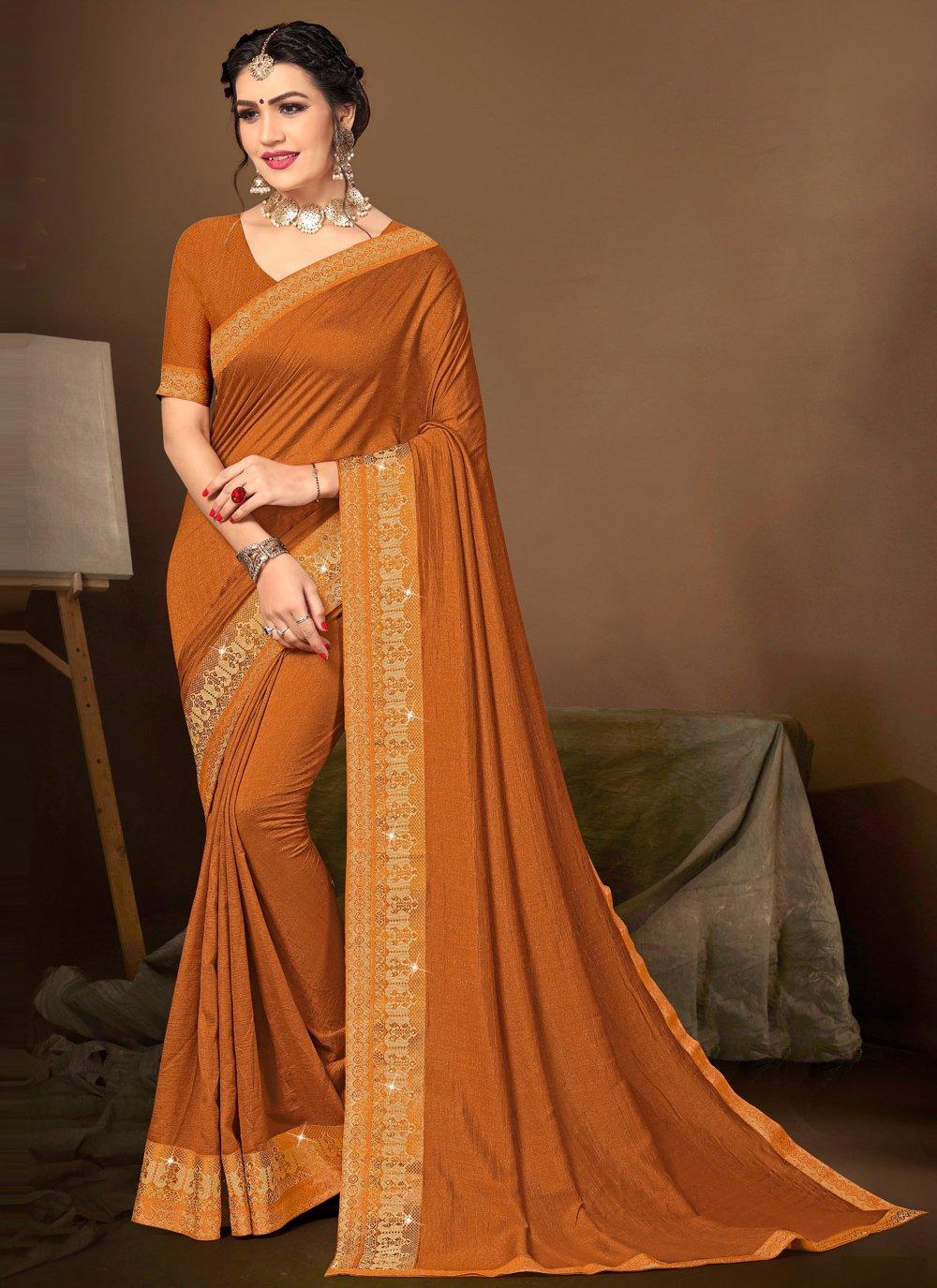 Orange Silk Designer Traditional Saree