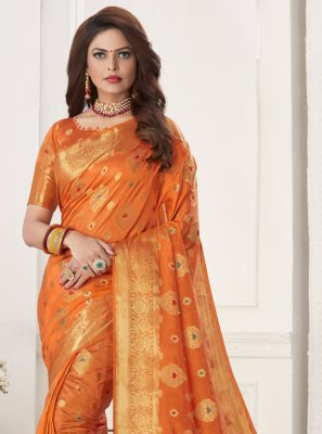 Orange Silk Designer Traditional Saree
