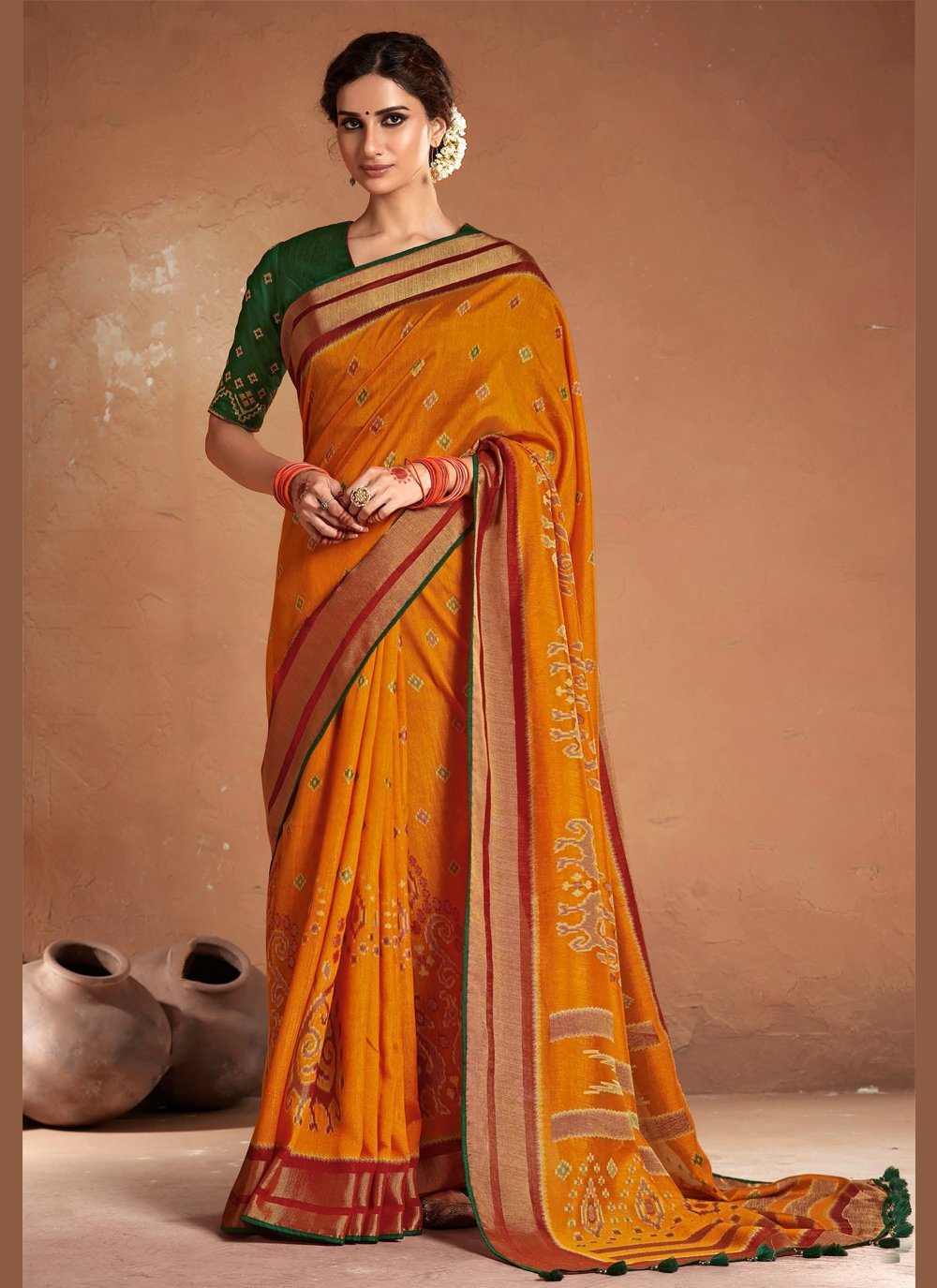 Orange Silk Embroidered Designer Saree