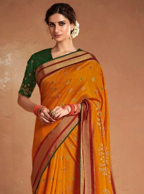 Orange Silk Embroidered Designer Saree