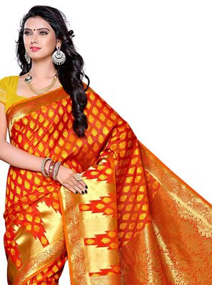 Orange Silk Traditional Saree
