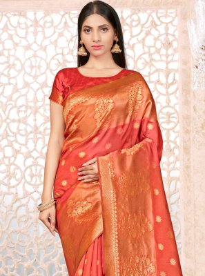 Orange Weaving Banarasi Silk Designer Traditional Saree