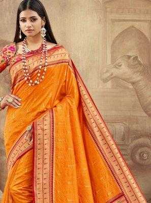 Orange Weaving Banarasi Silk Trendy Saree