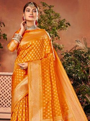 Orange Weaving Festival Designer Traditional Saree
