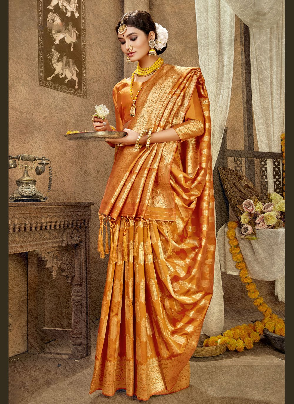 Orange Weaving Mehndi Designer Traditional Saree