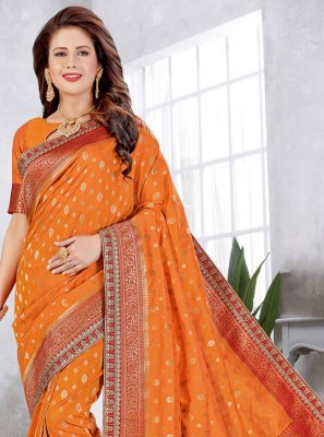 Orange Weaving Traditional Designer Saree