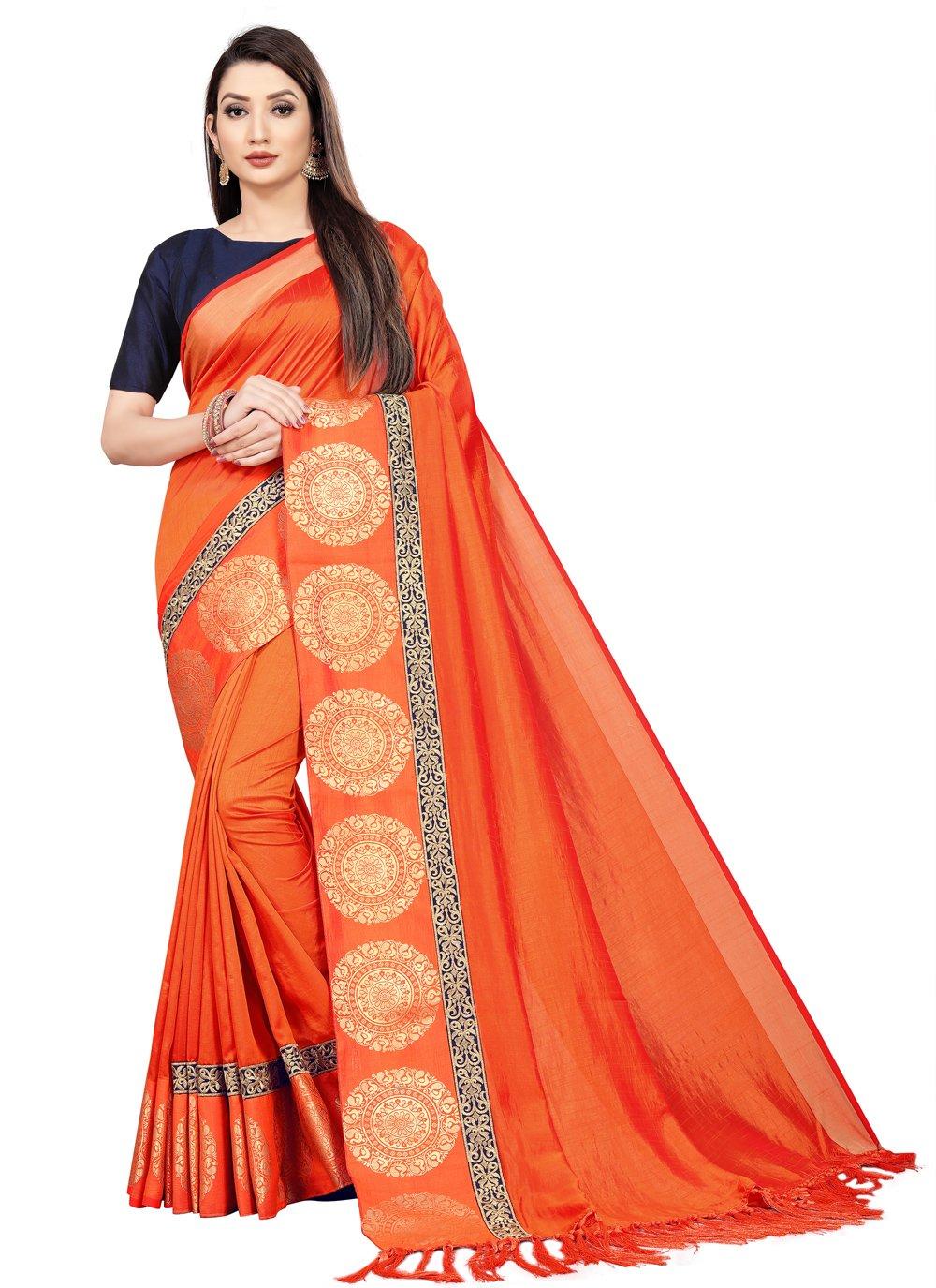 Orange Weaving Trendy Saree
