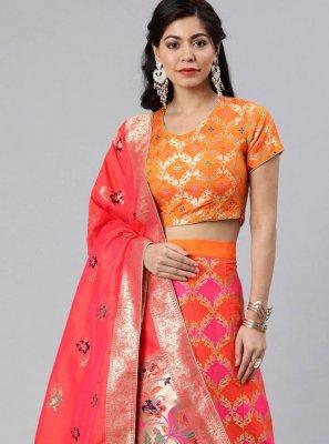 Orange Woven Banarasi Silk A Line Lehenga Choli