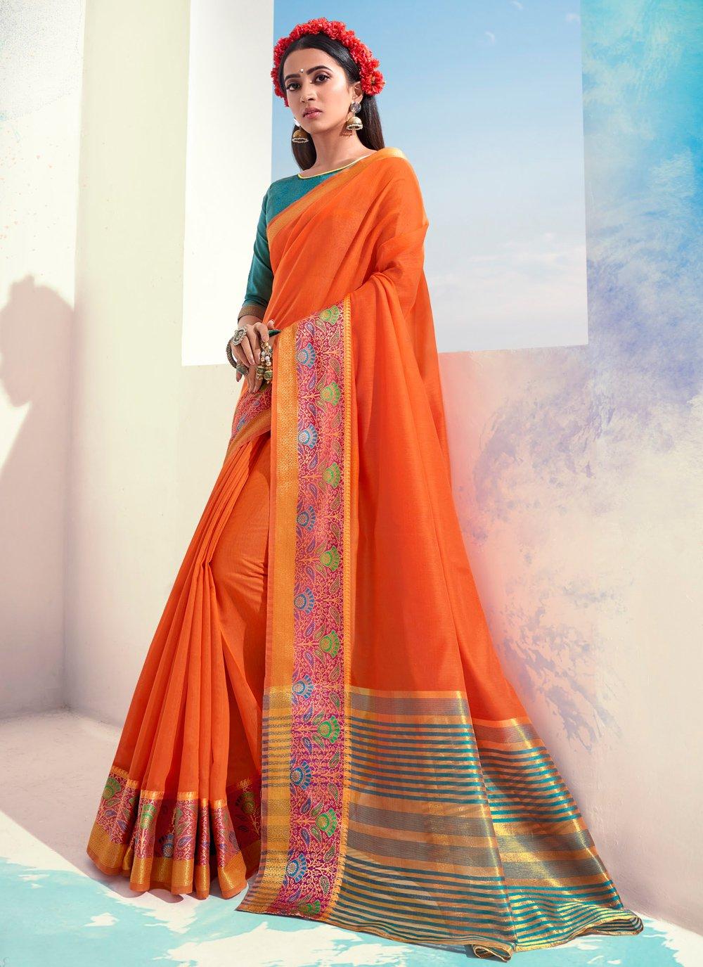 Orange Woven Cotton Designer Saree