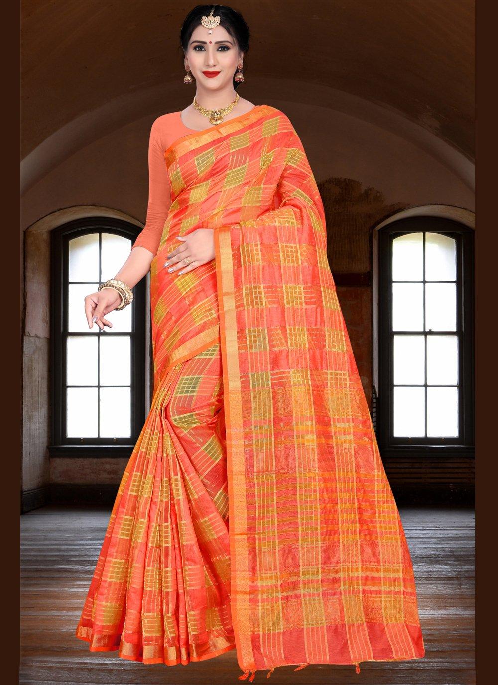 Orange Woven Linen Traditional Saree