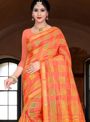 Orange Woven Linen Traditional Saree