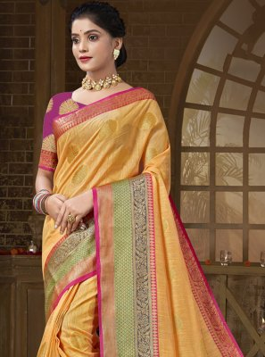 Orange Woven Traditional Saree