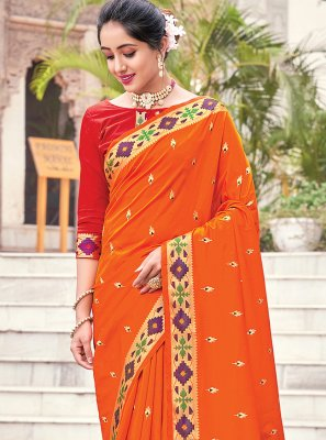 Orange Woven Traditional Saree