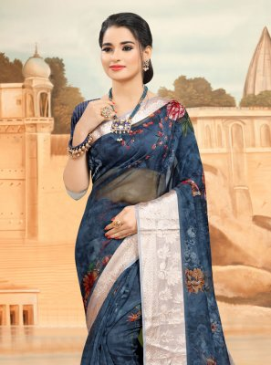 Organza Blue Printed Saree