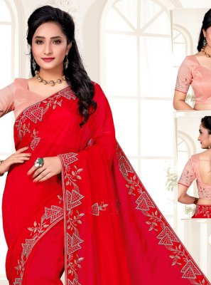 Organza Embroidered Red Designer Saree