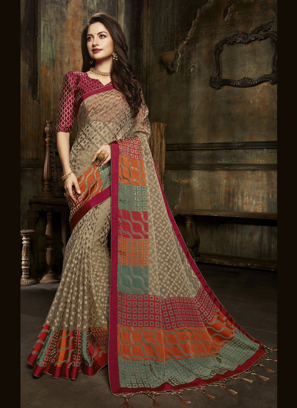 Organza Fancy Multi Colour Designer Saree