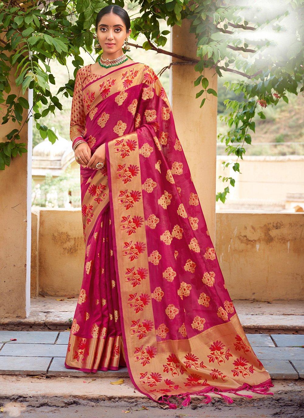 Organza Fuchsia Weaving Traditional Designer Saree