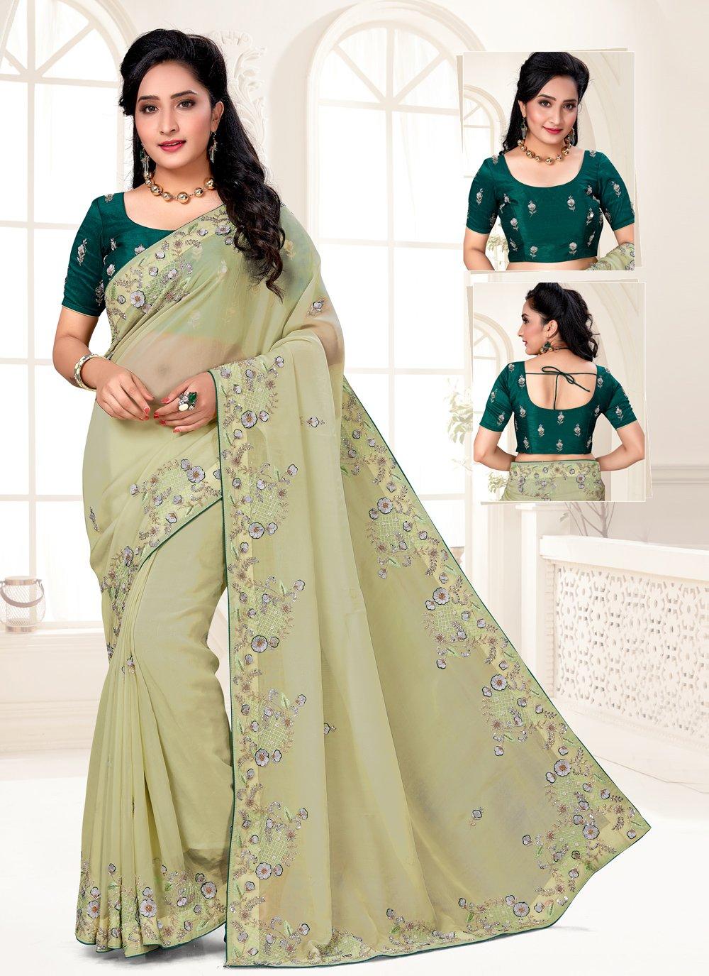Organza Green Embroidered Designer Saree