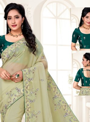 Organza Green Embroidered Designer Saree