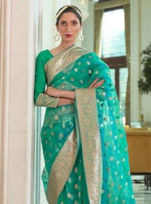 Organza Green Woven Designer Traditional Saree