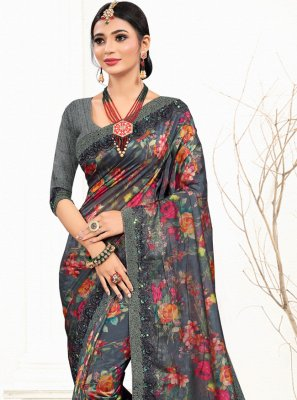 Organza Grey Embroidered Classic Designer Saree