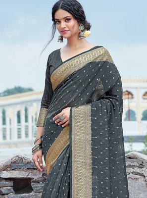 Organza Grey Weaving Traditional Saree