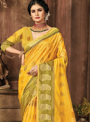 Organza Mehndi Classic Designer Saree