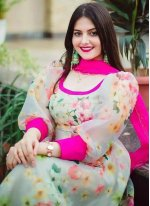 Organza Multi Colour Anarkali Salwar Kameez