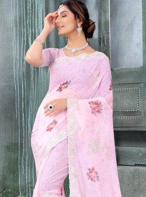 Organza Pink Classic Designer Saree