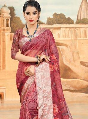 Organza Pink Digital Print Shaded Saree