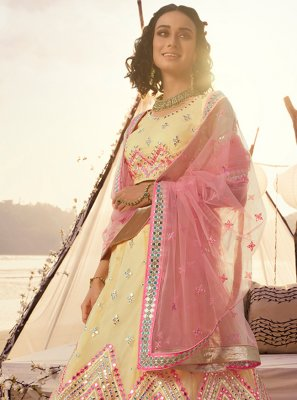 Organza Thread Yellow A Line Lehenga Choli