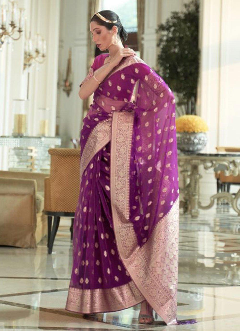 Organza Traditional Designer Saree in Purple