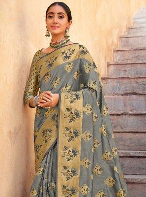 Organza Weaving Grey Traditional Designer Saree
