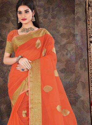 Organza Weaving Orange Designer Traditional Saree