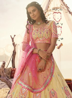 Organza Yellow Mirror A Line Lehenga Choli