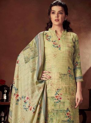Palazzo Designer Salwar Kameez Digital Print Cotton in Green