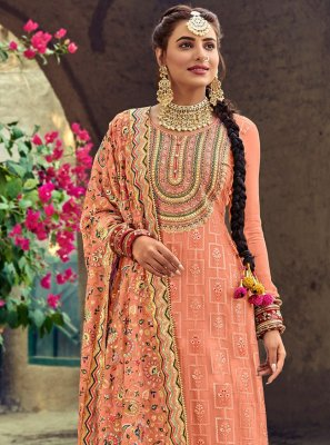 Palazzo Designer Salwar Kameez Embroidered Faux Georgette in Peach