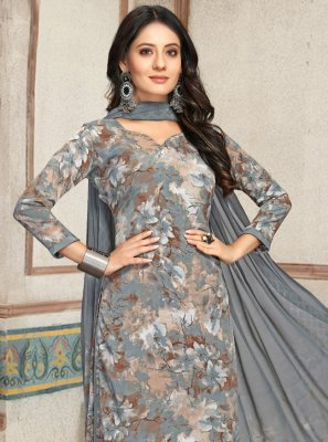 Palazzo Suit Print Faux Crepe in Grey